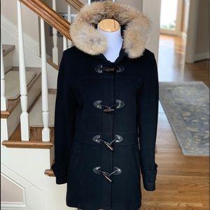 Andrew Marc wool coat with fur trim